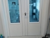 Double White doors with chrome inlay